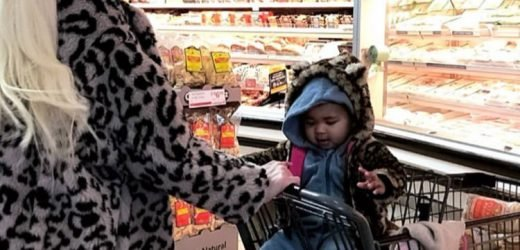 Khloé Kardashian Twins with Daughter True in Matching Leopard-Print Coats on Grocery Store Outing