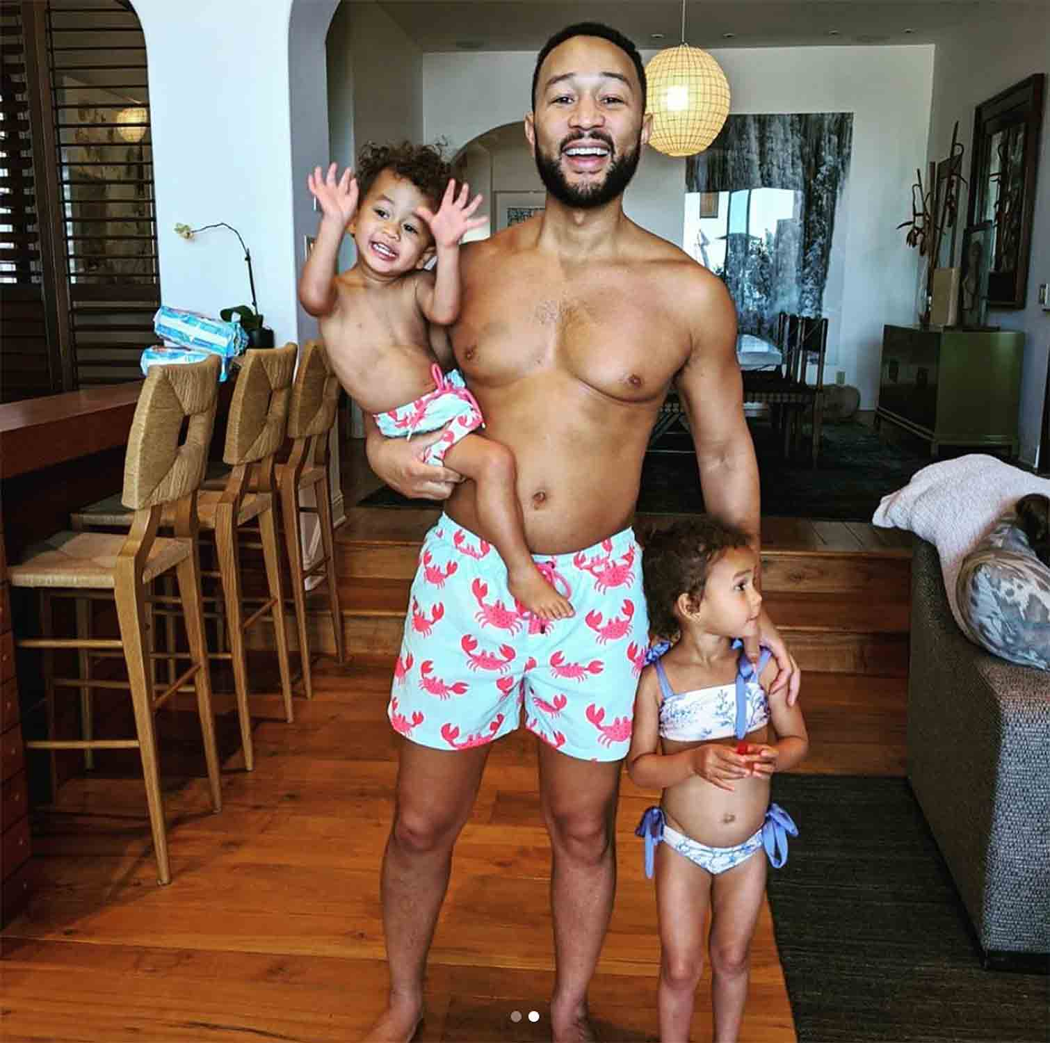 John Legend, Son Miles Rock Crustacean-Print Swim Trunks as Chrissy Teigen Jokes, 'I Have Crabs'