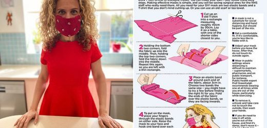 DR ELLIE CANNON demonstrates how to make a mask from an old T-shirt