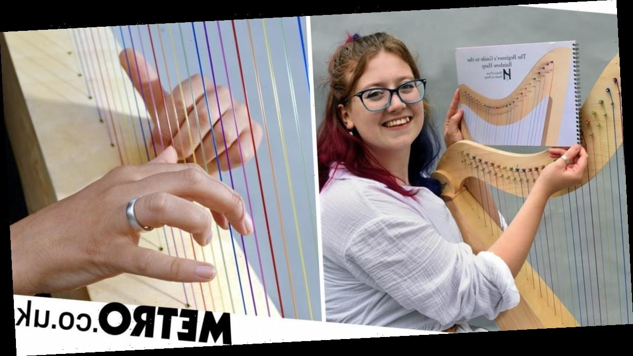 Dyslexic harpist unable to read sheet music creates inclusive rainbow harp